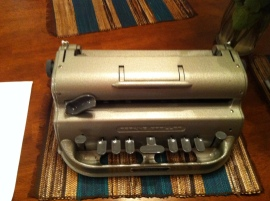 This is a Braille typewriter used by the blind.